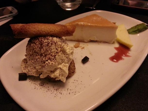 Tarta de queso y tiramisú